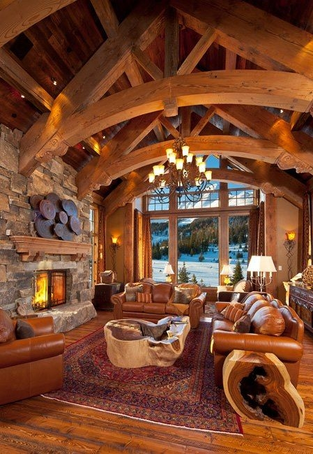 curved truss design ideas pictures remodel and decor log Country Cabin Living Room Ideas