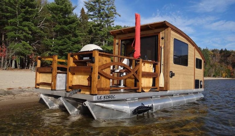 high end tiny house boats le koroc Tiny Cabin Boats