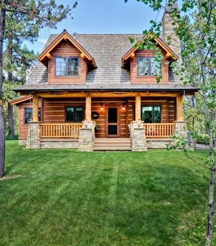 house plan 43212 log style with 1362 sq ft 2 bedrooms Small 2 Floor Cabin