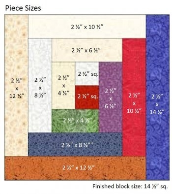 how to construct a log cabin quilt block Log Cabin Quilt Pattern Using 2 1/2 Inch Strips
