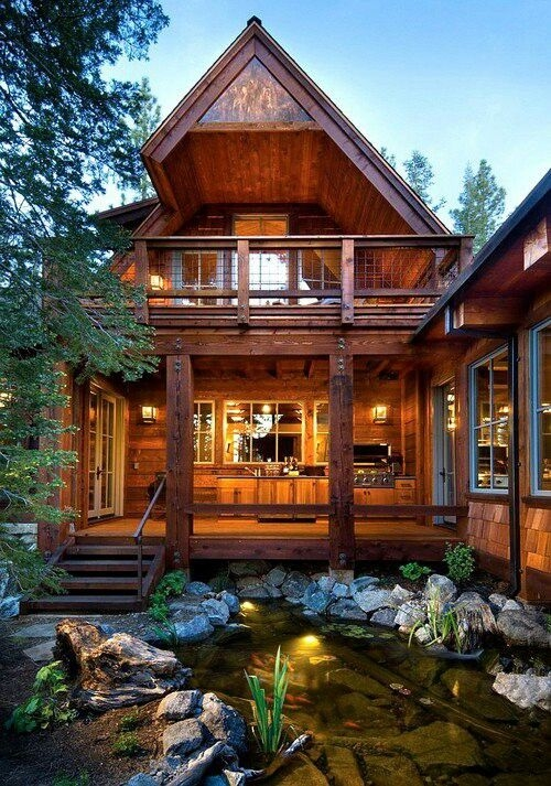 i like that outdoor grill set up and the rock pond cabins How To Set Up A Log Cabin