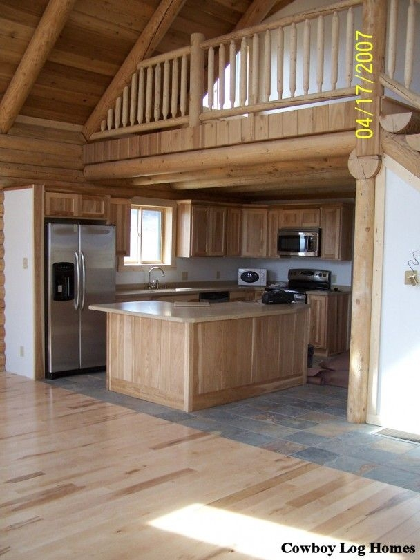 log cabin loft and kitchen cowboy log homes log home Small Cabins With Loft