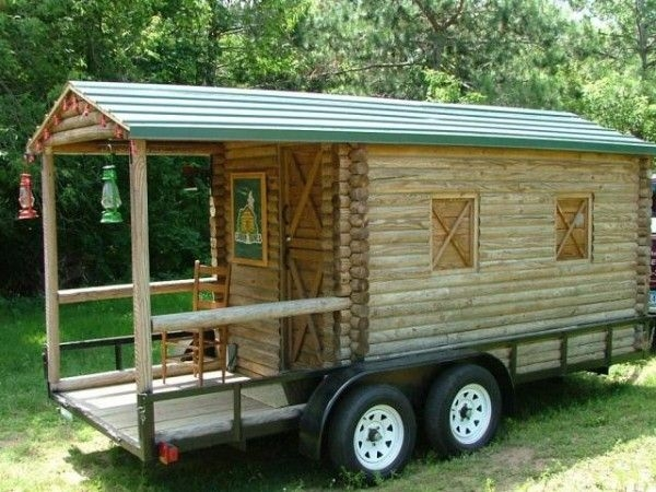 log cabin on wheels with covered porch for sale 3500 Log Cabin On Wheels