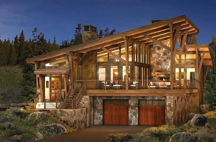modern log and timber frame homes and plans precisioncraft Modern Log Cabin