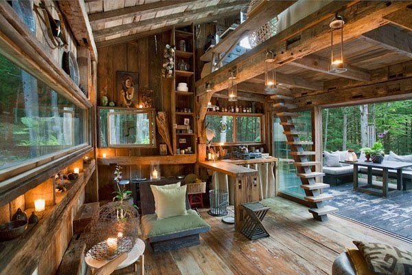 off the grid new york cabin in the woods interior Cabin In The Woods Rooms