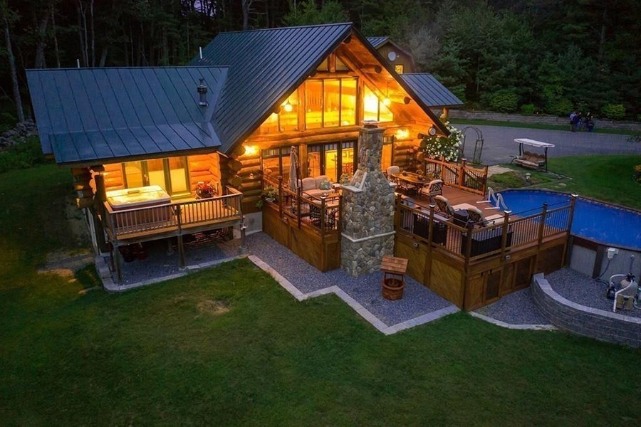 on the market a lofty log cabin in central mass Cabin Houses