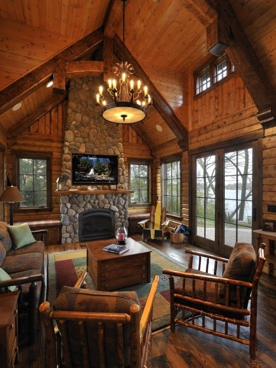pin sharon foster on for the dream home log cabin Cabin Living Room Ideas