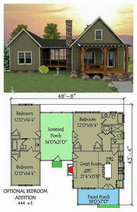 plan 92318mx 3 bedroom dog trot house plan vacation house Small 3 Bedroom Cabin