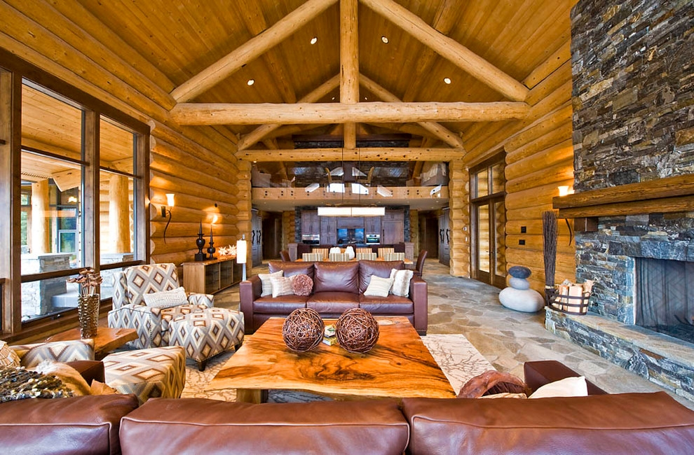 ranch log home rustic living room vancouver sitka Cabin Living Room Ideas