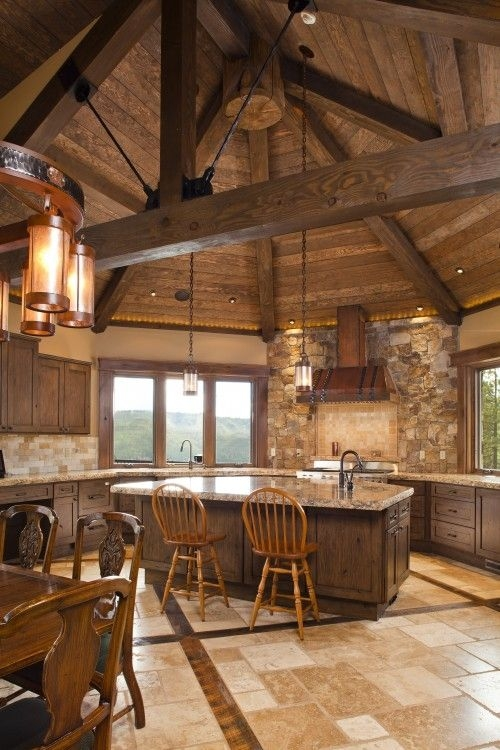 rustic kitchen with a fabulous rounded wooden ceiling via Pinterest Outdoor Cabin Decor