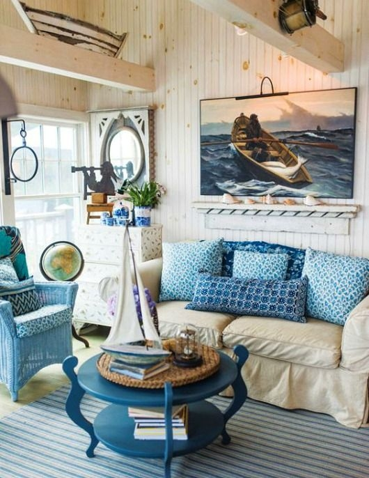 rustic maine seaside cottage living room featured on Beach Cabin Decorating Ideas