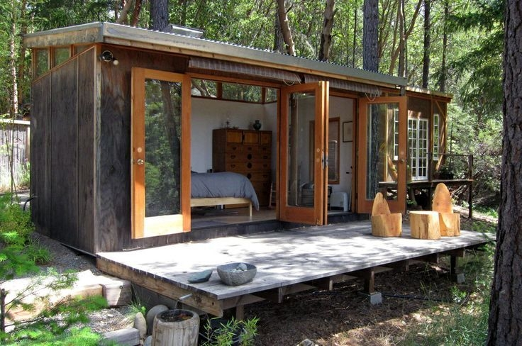 simple shape french doors modern tiny house tiny house Small Contemporary Cabins