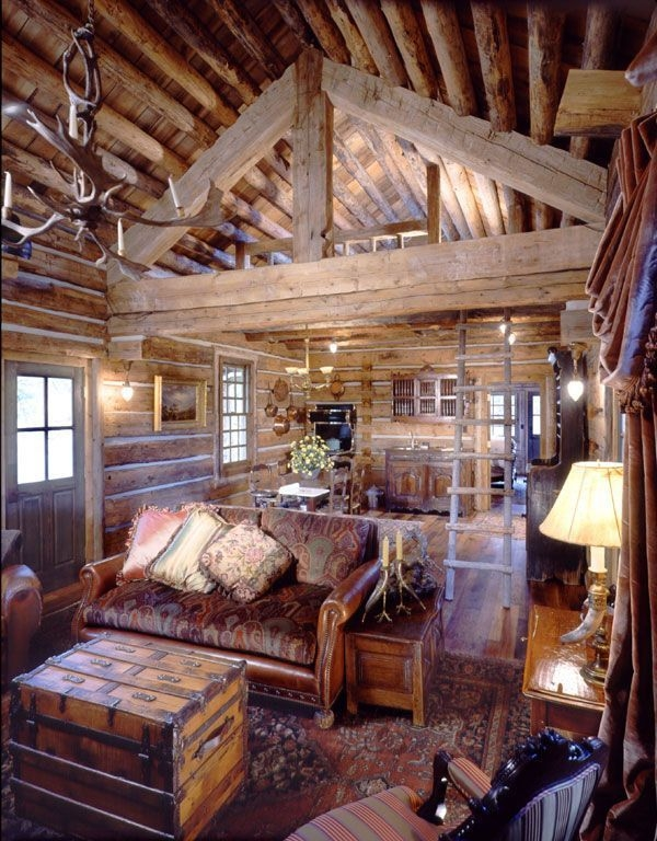 small log cabins with lofts bing images interiores de Cabin Loft Pintrest