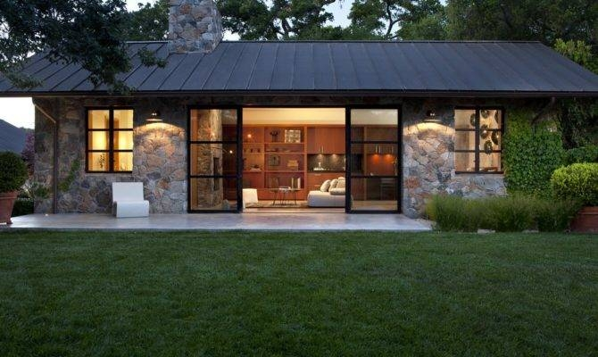 stones wall modern cottage house plans plan house plans Modern Cabin House