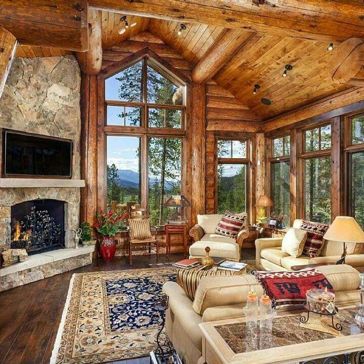 survivalthelifestraw cabin style homes log home Cabin Living Room Ideas