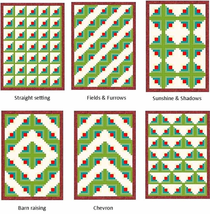 the many ways to arrange log cabin blocks on your quilt Log Cabin Quilt Layouts 7 By 7