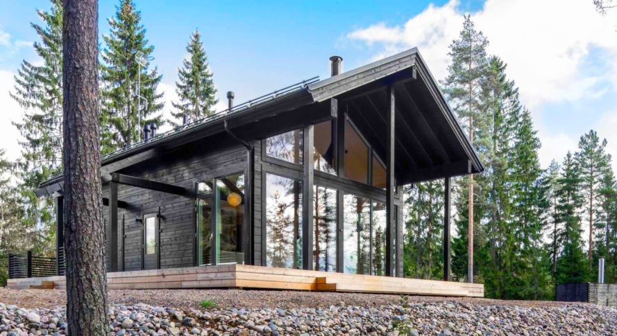 this modern log home in finland is heated the earth Modern Log Cabin