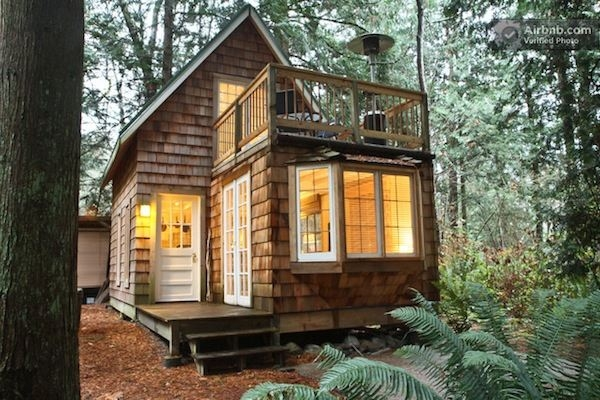 tiny cabin with upstairs balcony and small space ideas galore Small Cabin Ideas