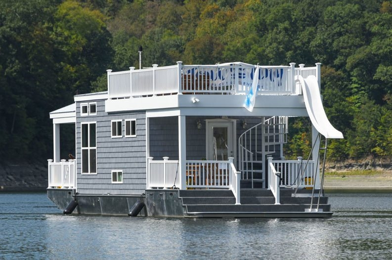 tiny houseboat lets you float your cares away for 9000 Tiny Cabin Boats