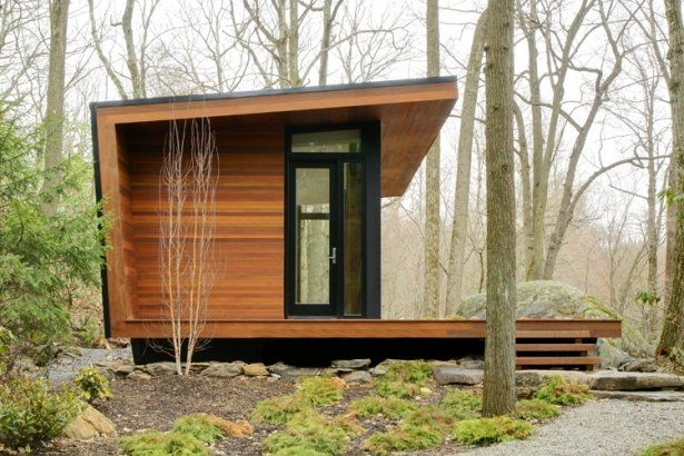 warm woodsy modern cabins from architizer house exterior Small Contemporary Cabins