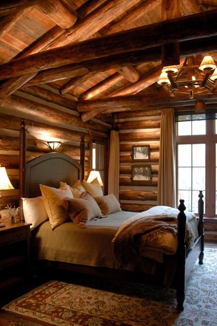 what exactly are cabin colors in 2020 log home bedroom Cabin Bedroom Ideas
