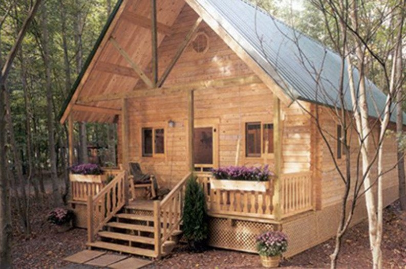 you can build this cozy a frame cabin for 6050 Small A Frame Cabin