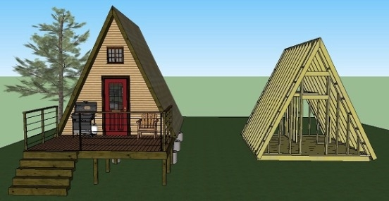 14x14 tiny a frame cabin plans lamar alexander A Frame Cabins To Build