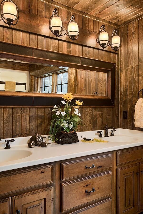 30 rustic bathroom vanity ideas that are on another level Cabin Bathroom Lighting
