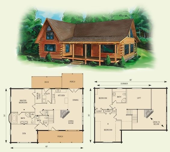 cabin floor loft with house plans dogwood ii log home and Log Cabin House Architectural Design And Floorplans