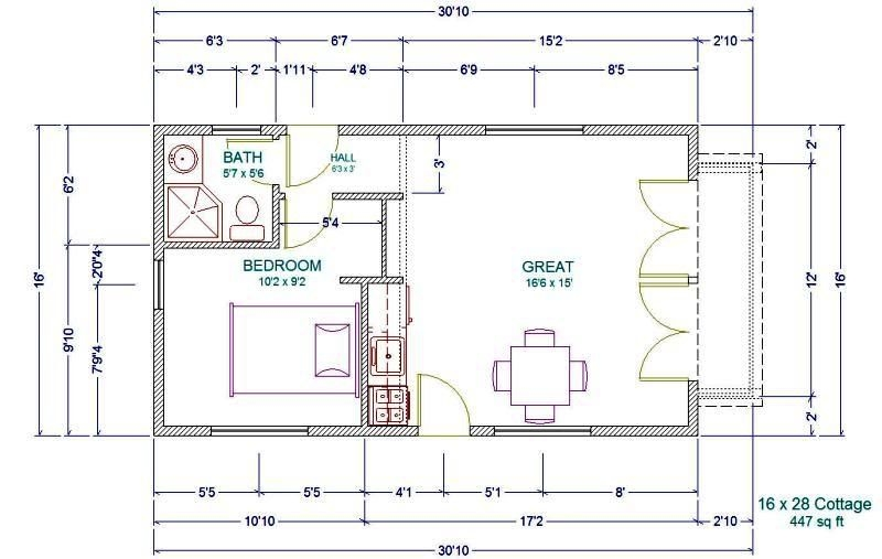 free foundation plan for 16 wide little house project Projects Small Cabin Plans