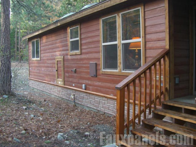 mobile home skirting brick rock and stone panel options Cabin Skirting Ideas