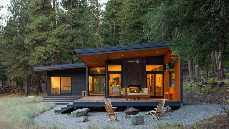 modestly built forest cabins house exterior modern cabin Forest Cabin Designs