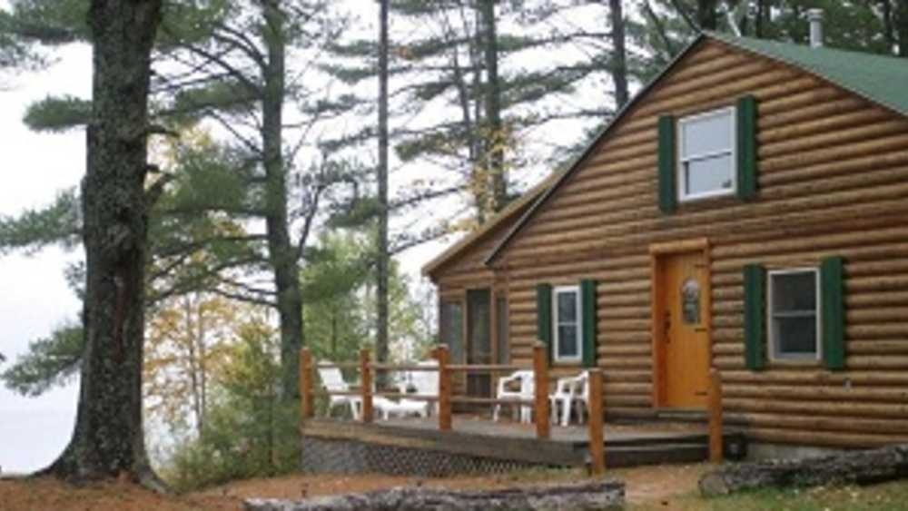 secluded log cabin on brook trout lake michigan Trout Lake Cabins