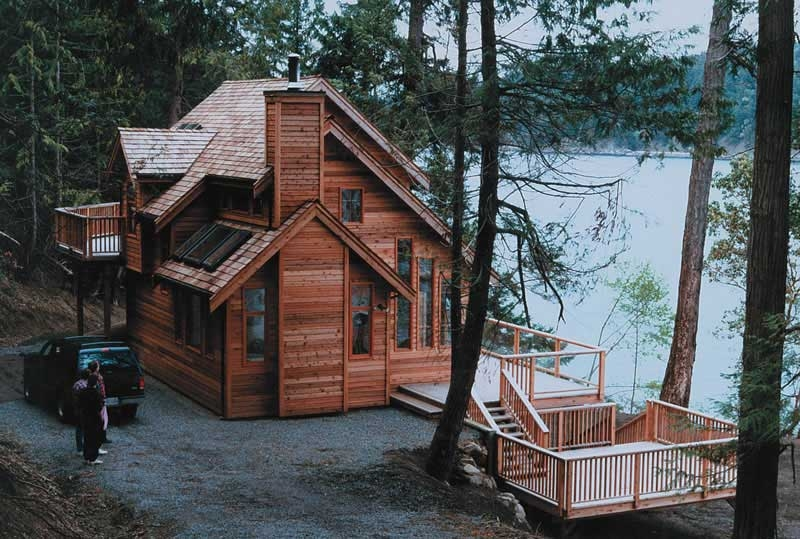 3 bedroom 2 bath cabin plan with sundeck 1235 sq ft Small Lake Cabin Ideas