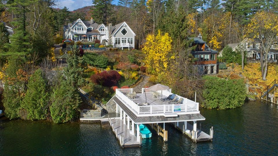 a six house compound at waters edge on lake george new Lake Cabin New York