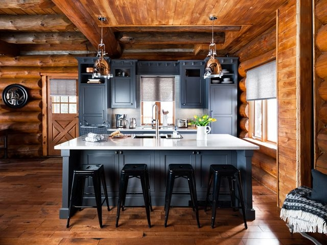 before and after a rustic log cabin log cabin kitchens Cottage Cabin Kitchens