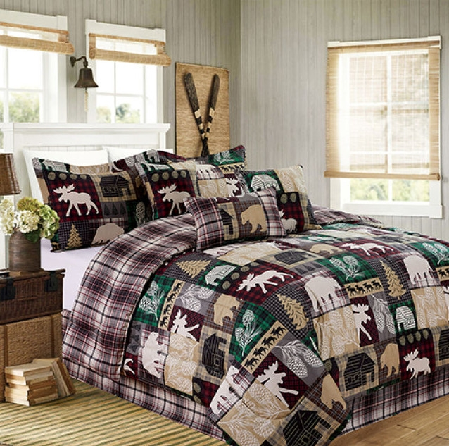 cabin country hunting lake house reversible twin comforter set 6 piece bed in a bag walmart Lake Cabin Bedding