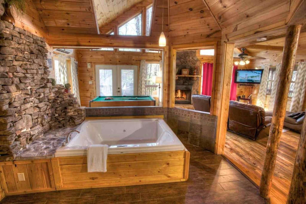 enchantment private luxury couples cabin 2 person jacuzzi heated indoor spa Cabin Cottage With Hot Tub