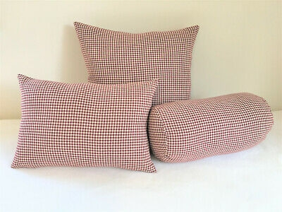 french burgundy pillow cover tan check farmhouse country cottage cabin shab ebay Cabin Cottage Pillow