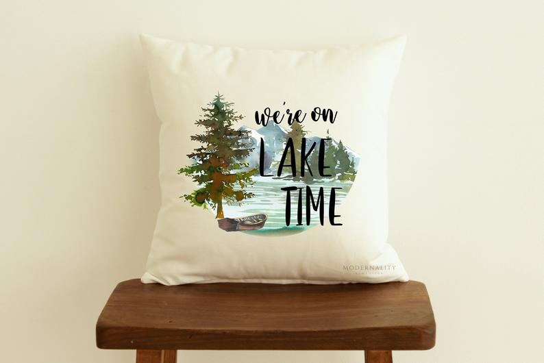 lake house pillow were on lake time cabin throw pillow rustic decor cottage pillow zippered pillow cover decorative pillow farmhouse Cabin Cottage Pillow