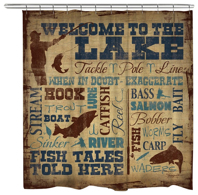 laural home welcome to the lake shower curtain Lake Cabin Shower Curtains