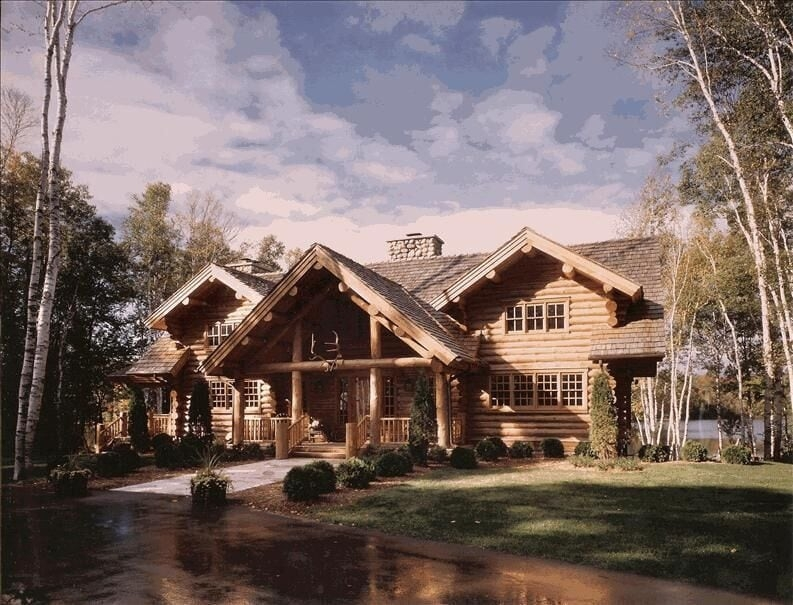 luxurious log home on private lake charlevoix Cabin Cottage Charlevoix