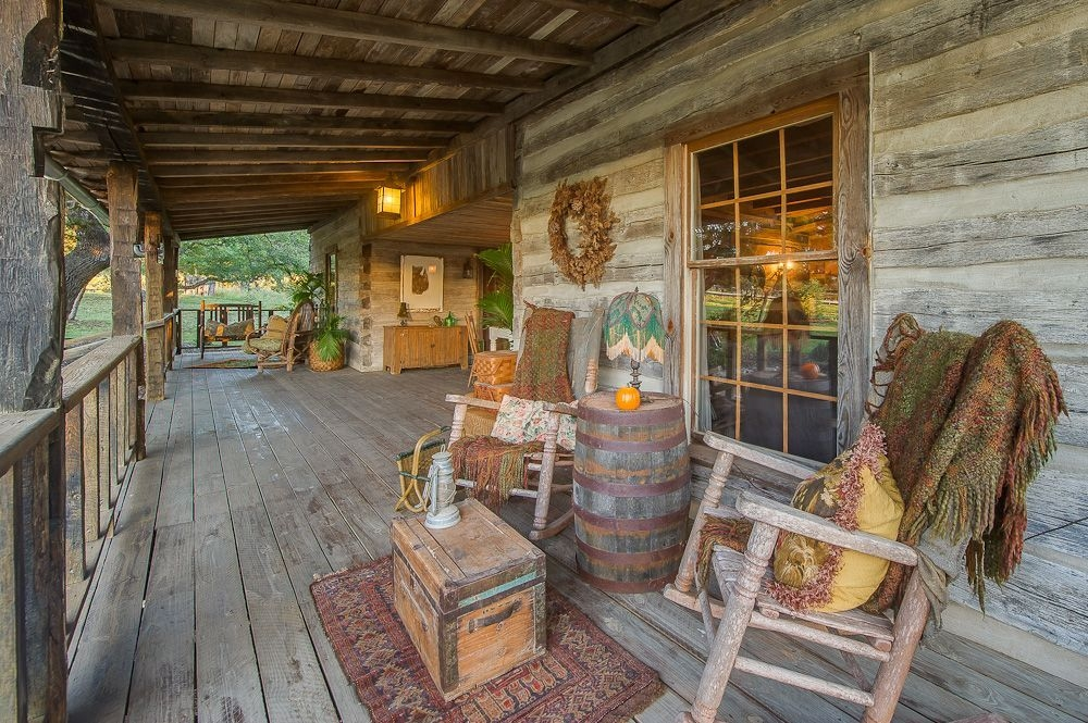 relax on the porch in a rocking chair enjoy a fire in the Cabin Or Cottage Crossword