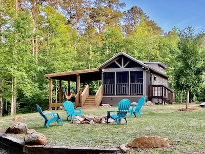 secluded log cabin tiny house in the woods on lake russell dog friendly elberton Richard B Russell Lake Cabins