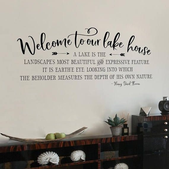 welcome to our lake house wall decal lake quote henry Lake Cabin Quotes