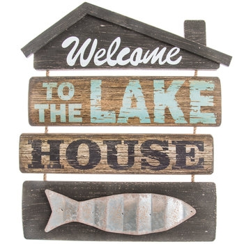 welcome to the lake house wood wall decor hob lob 1301472 Lake Cabin Accessories