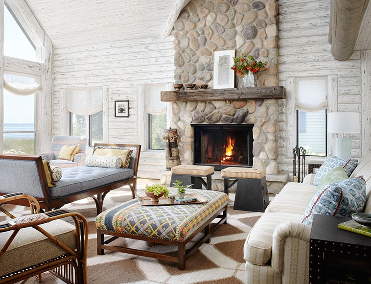whitewashed cabin grounded luxury and tranquil escapes Lake Cabin Interior