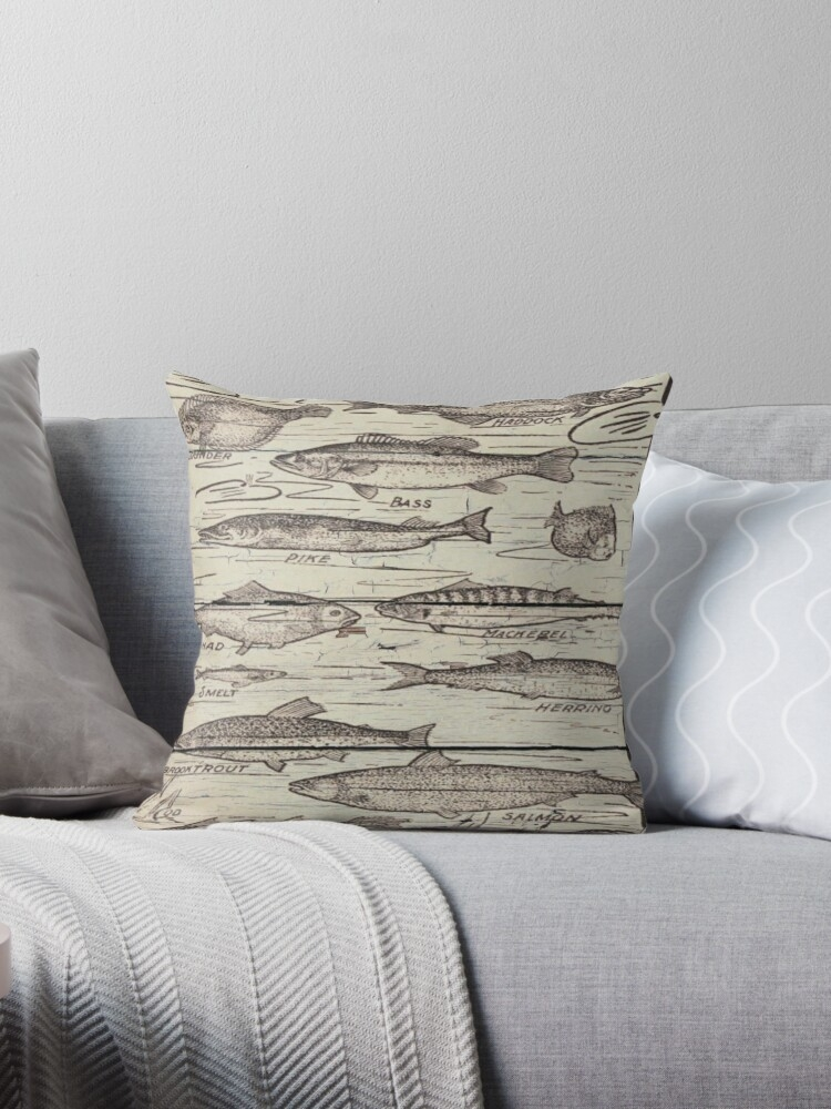 whitewashed wood lakehouse cabin cottage freshwater fishing chart throw pillow Cabin Cottage Pillow