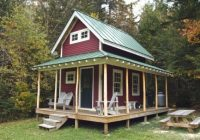 160 sq ft tiny loft cabin with wraparound porch Small Cabin Plans With Loft And Porch