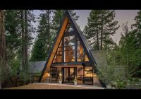 contemporary a frame cabin with a soaring ceiling and huge windows A Frame Cabin